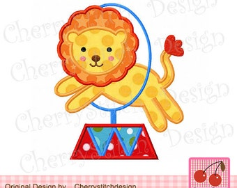 Lion Circus Lion Circus Animal Machine Embroidery Design -approximate 4x4 5x5 6x6 inch