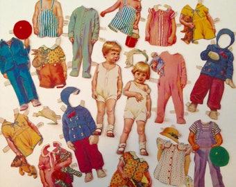 Vintage 1940's Alden Family Paper Doll Set