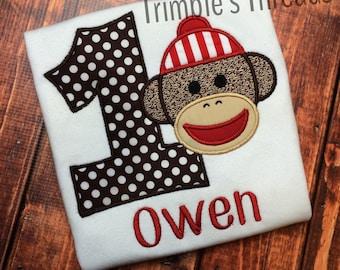 Sock Monkey Birthday Shirt / Applique Sock Monkey Shirt