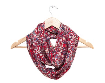 Red Floral Silky Soft Rayon Infinity Scarf, Light and Airy Spring Scarf
