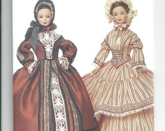 Vogue Pattern 7352 Linda Carr Fashion Doll Clothes Pattern 11 1/2 Inch Barbie Dress Hat Petticoat Historical Sewing