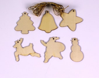 Christmas Wooden Shapes Make Your Own hanging Decorations with Strings Set of 54