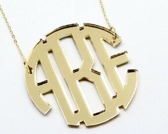 "Large 2"" Gold Mirror Acrylic Monogram Necklace"