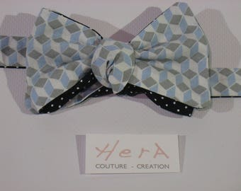 Bow tie men tie blue Harlequin polka dots reversible 2 in 1