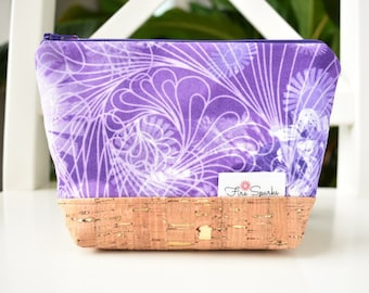 Zipped Pouch - Purple - makeup bag, cosmetic bag, toiletry bag, accessories bag, small storage bag, small zipper pouch
