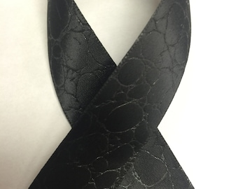 "7/8"" CROCODILE PRINT EMBOSSED Satin - Black - Beautiful Elegant Ribbon"