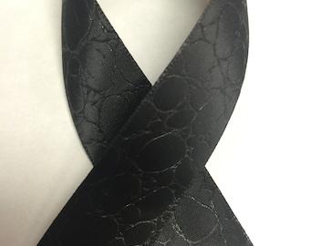 """7/8"""" CROCODILE PRINT EMBOSSED Satin - Black - Beautiful Elegant Ribbon"""