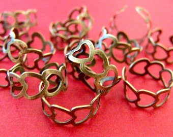20pcs Antique Bronze Heart Ring Base Blanks R3