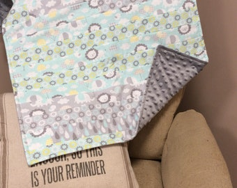 Gray Animal Rag Quilt with Minky