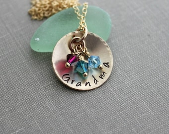 14k gold filled grandma or Mom Necklace, Cupped Disc with Swarovski Crystal Birthstone Charms, Grandma, Nana, Momma, Personalized Disk