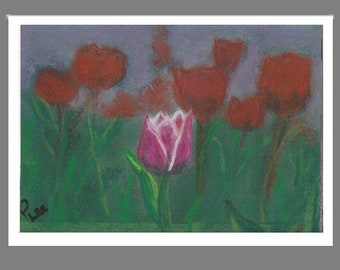 "PRINT of Original Signed Pastel Painting, Flower Artwork, ""One Special Tulip"""