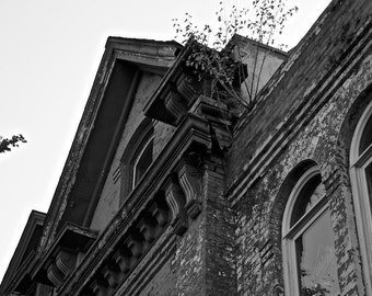 Urban Decay, Black and White Photograph, Architecture Art, Georgia Photography, Vintage Wall Decor