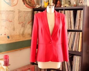 vintage Levi Strauss blazer, womens red poly jacket . APPROX medium large