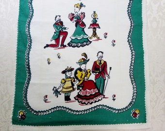 Vintage Kitchen Linens Tea Towel Broderie Victorian Family Green Red White Dish Hand Towel Dish Cloth 1940's 1950's Vintage Linens