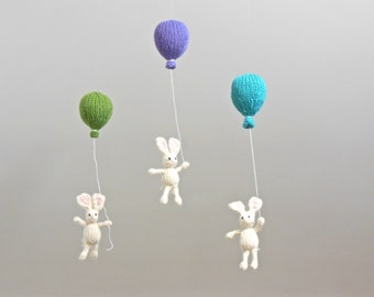 Balloon Nursery Crib Mobile, Bunny Baby Mobile, Rabbit Balloon Mobile, Balloon Nursery Hanging Mobile, Gender Neutral White Nursery Mobile