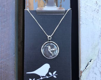 Hummingbird Silver Wax Seal Stamp Necklace