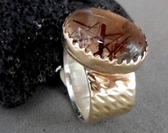 Brown Statement Ring, 9k Gold Bezel, 9k ring soldered over Silver, Stacking Oval Rutile Quartz, Impressive