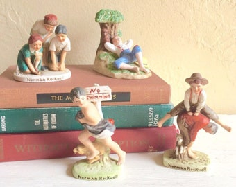 Cute Vintage Norman Rockwell Ceramic Figurines 3-Dimensional - Set of 4