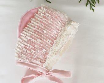 Baby Pink-velvet bonnet