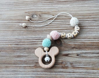 "Maxi Cosi pendant ""Mouse"", with name, crochet"