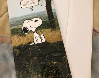 Vtg Snoopy Peanuts Hallmark Greeting Card Unused w/ Envelope Wish you were here 10 inch