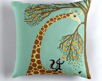 "Lending A Neck - Children's Cushion Cover / Throw Pillow Cover - Animal art - (16"" x 16"") by Oliver Lake - iOTA iLLUSTRATiON"