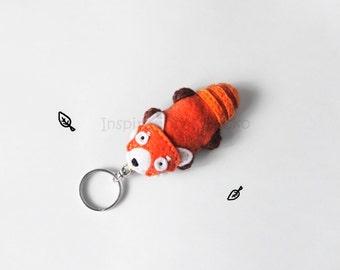 Red Panda Keychain Plush, Firefox Felt Keyring, Cute Animal Figurine Accessory for Bags, Woodland Summer Gift for Animal Lovers