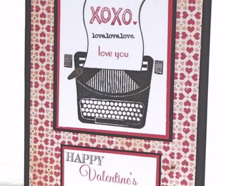 Happy Valentine's Day Greeting Card - Typewriter Handmade Paper Card with Coordinating Hand Stamped Embellished Envelope