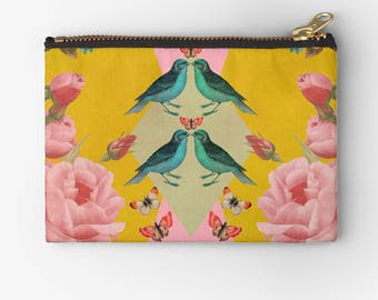 carry- all pouch- animals-birds-flowers-roses- yellow and pink- pretty feminine coin purse- pencil case- floral cosmetic bag- make up bag