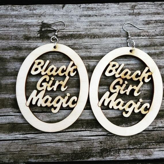 Black Girl Magic Wooden Earrings