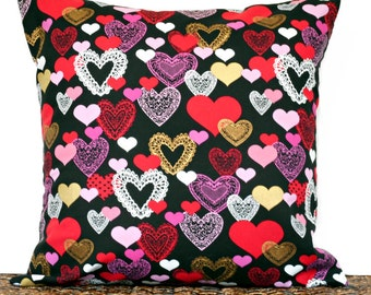 Valentine Hearts Pillow Cover Cushion Red Pink Black White Gold Decorative 18x18