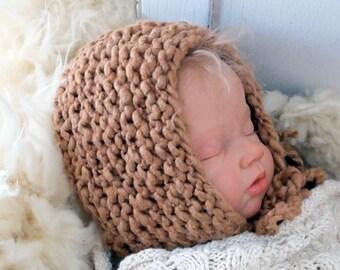Chunky Organic Baby Bonnet Knitting Large Print Pattern