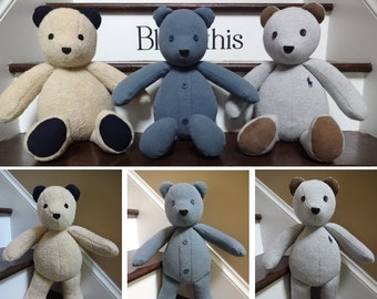 """18"""" Memory Bear / Keepsake Bear from Adult Clothes **PLEASE Read the Item Details of the Listing for Information Needed for Ordering**"""
