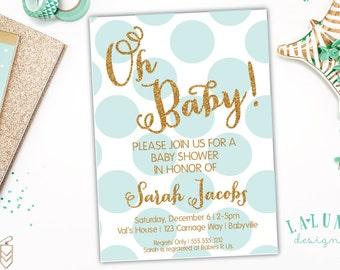 Baby Shower Invitation, Polka Dot Baby Shower Invite, Glitter Baby Shower, Baby Boy, Baby Girl, Gender Neutral, DIY Printable