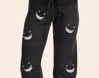 Women's Yoga Pants, Crop Pants, Alternative Eco Black Cheshire Cat  Smiles Capri Pants, Gift for Her