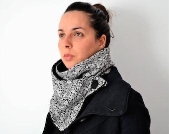 Polar and cotton scarf, Black Neck Warmer,  Polar Neckband,Woman cowl,polar shawl,Cowl neck scarf,present for her