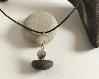 Pebble, Amazonite and Silver Pendant