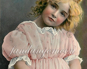 Little Blonde Girl child in Pink Dress Postcard Print Victorian Post Card Ephemera Scrapbook Instant Digital Download Printable