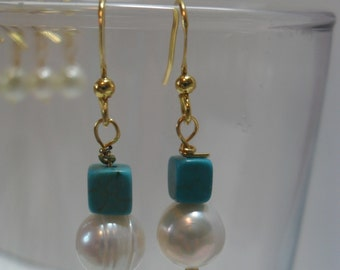 Turquoise and Pearl Hypoallergenic Dangle Earrings-Simple Summer Chic-Gold or Silver Plate Earwires