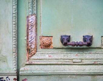 Paris Photograph - Weathered Mint Door and Knocker, Rustic Decor, Architectural Fine Art Photograph, Urban Home Decor, Urbex