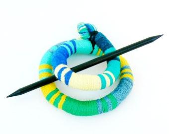 Large Hair barrette, Funky Hair stick, Shawl pin brooch, Flexible bun wrap, Bun hair style, Colorful fascinator, Hair Snake pin clip Green