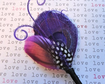 Purple DAVID Peacock Feather mariage fleur à la boutonnière