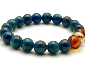 Luxe Teal Apatite and Baltic Amber  Minimalist  Beaded Bracelet   Rose Gold Stretch Gemstone for Girlfriend Under 320