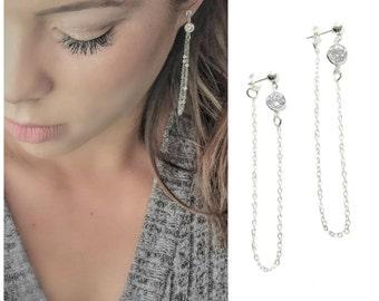 Sterling Silver CZ Diamond Chain Loop Earrings - Dangle Earrings - Sparkling Earrings - Dainty Earrings - Diamond Earrings - Gift for Her