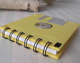 Geek Gear Lemon Yellow Recycled Blank Floppy Disk Mini Notebook