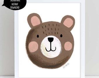 Cute Bear art, brown bear art, brown bear illustration, bear art, bear wall decor, nursery wall art, bear nursery art, woodland decor