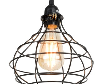 Industrial Cage Pendant Vintage Light with 15 Feet Toggle Switch Black Fabric Plug-in Cord and LED  Edison Bulb Included