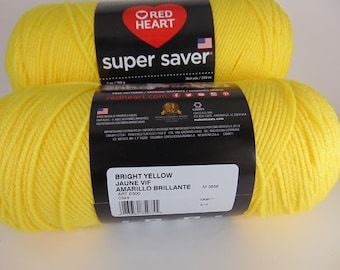 Bright Yellow  - Red Heart Super Saver yarn 100 % acrylic worsted weight - 2111