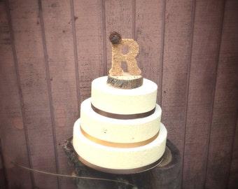 Monogram wedding cake toppers - unique wedding cake topper - rustic wedding cake toppers