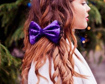 Purple Velvet Hair Bow, Velvet Hair Clip, Victoriana Fashion Hair Accessory, Lolita Hair Clip